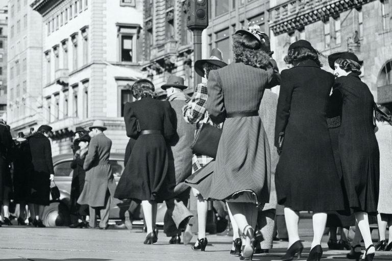 People walking on street, (Rear view), (B&W)