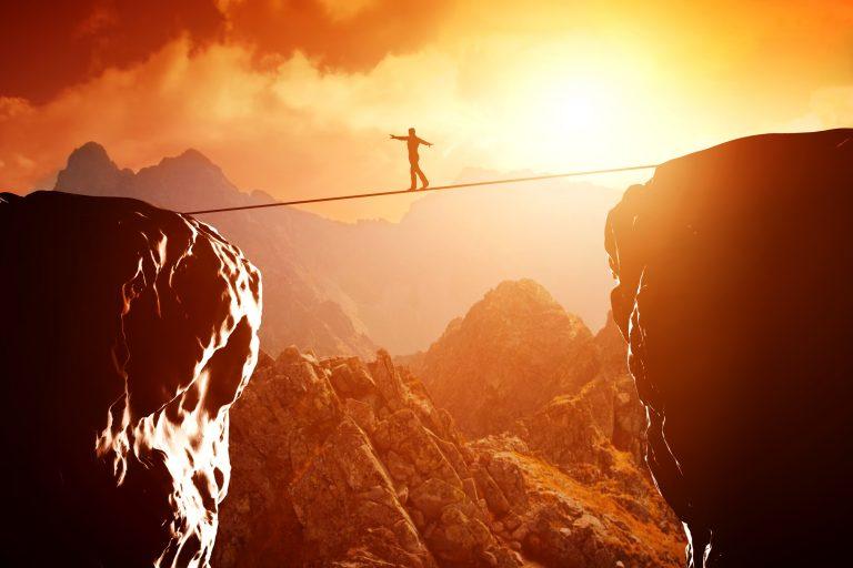 Balancing over canyon